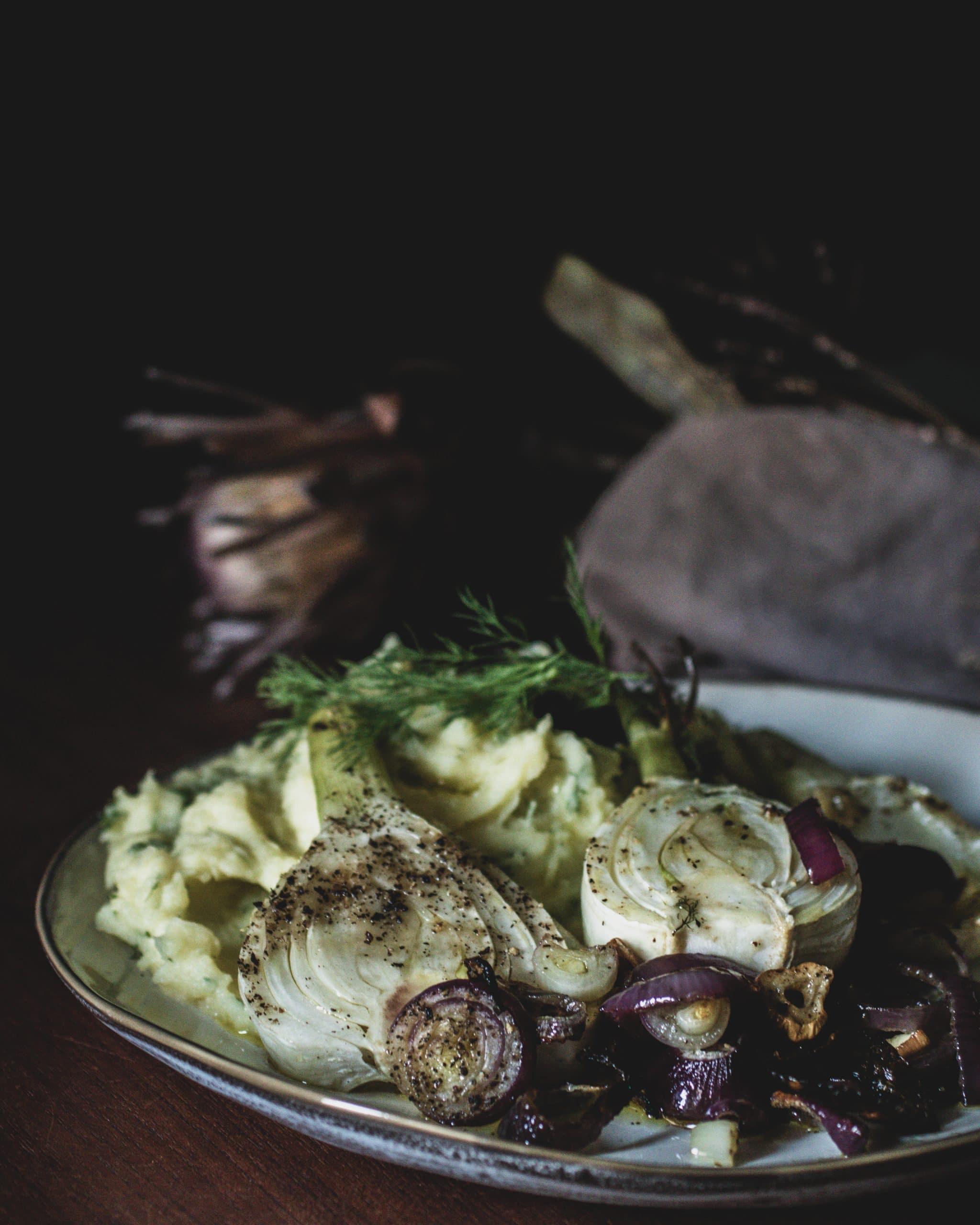 Fenchel auf Kartoffelbrei