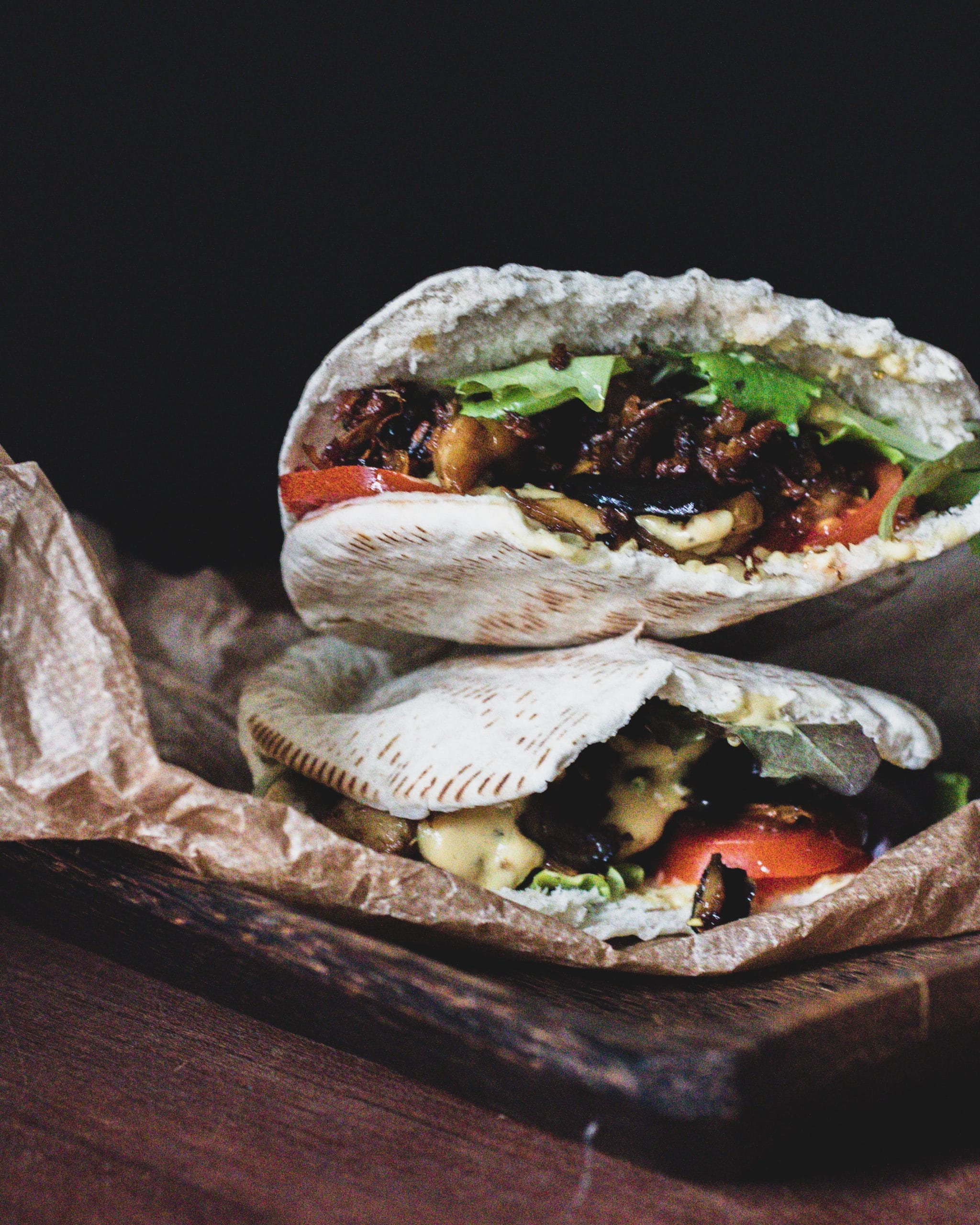 Pulled Mushroom filled Pita Bread
