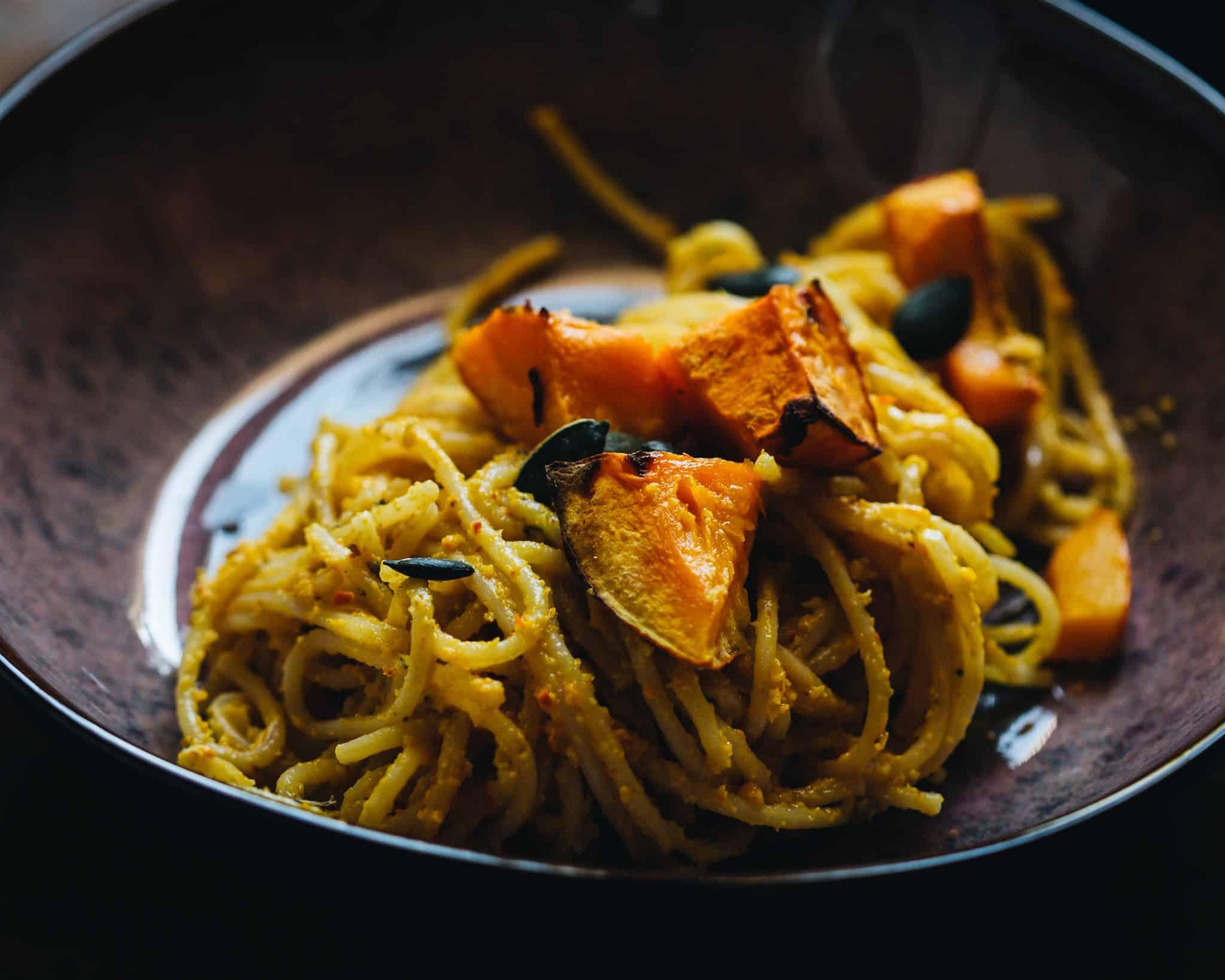 Kürbispesto mit Spaghetti